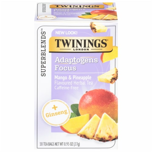 Twinings of London Focus Ginseng Mango & Pineapple Tea Bags Perspective: front