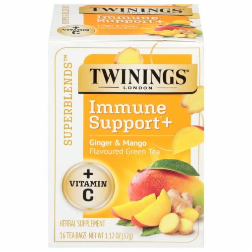 Twinings® of London Immune Support+ Ginger & Mango Flavored Green Tea Perspective: front