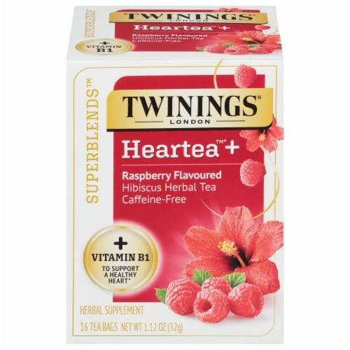 Twinings® of London Heartea+ Raspberry Flavored Hibiscus Herbal Tea Perspective: front