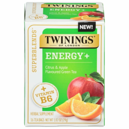Twinings® of London Energy+ Citrus & Apple Flavored Green Tea Perspective: front
