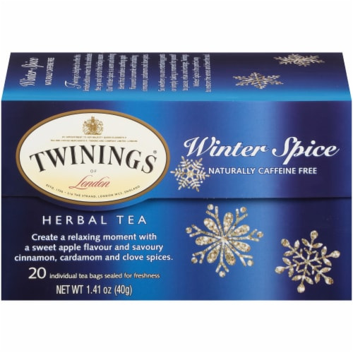 Twinings of London Winter Spice Caffeine Free Herbal Tea Bags 20 Count Perspective: front