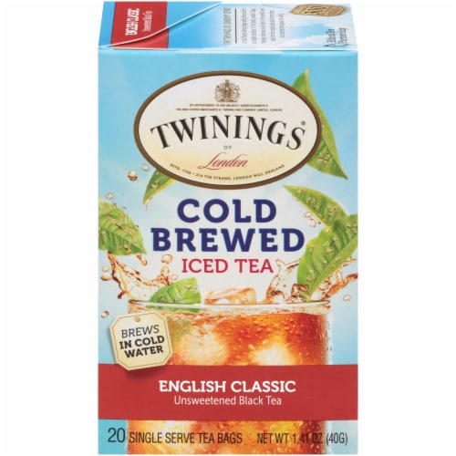 Twinings Of London Cold Brewed English Classic Unsweetened Black Iced Tea Bags Perspective: front