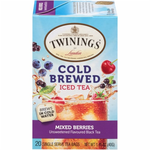 Twinings Of London Cold Brew Mixed Berries Unsweetened Black Iced Tea Bags Perspective: front
