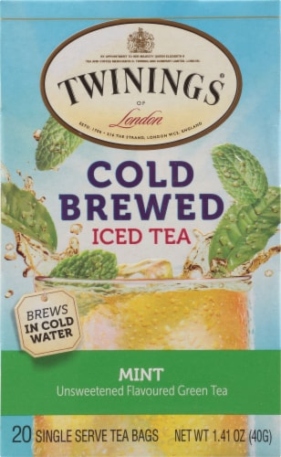 Twinings of London Cold Brewed Iced Tea Mint Green Tea Bags Perspective: front