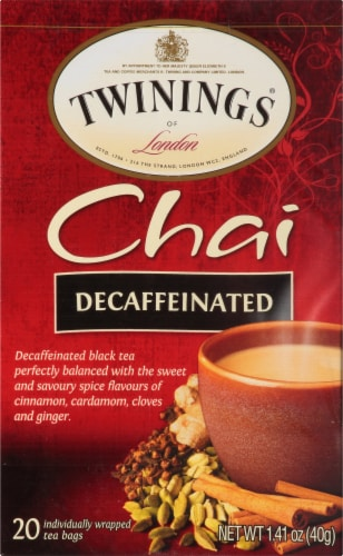 Twinings Of London Chai Decaffeinated Black Tea Bags Perspective: front