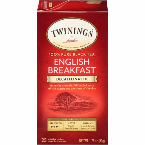 Twinings of London Decaffeinated English Breakfast Pure Black Tea Bags 25 Count Perspective: front