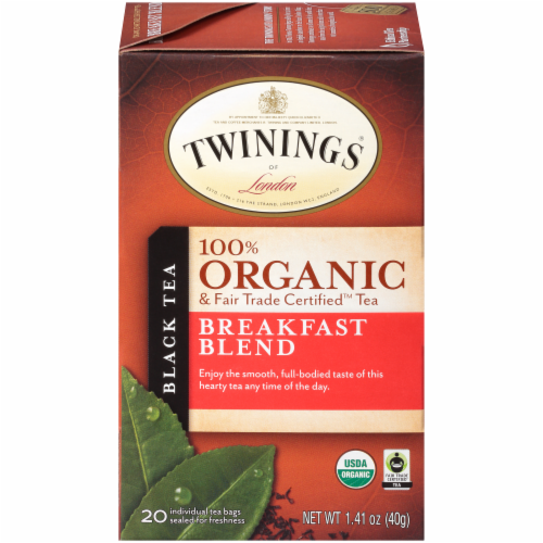 Twinings Of London Organic Breakfast Blend Black Tea Bags Perspective: front