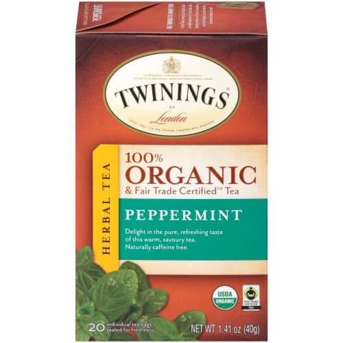 Twinings Of London Organic Peppermint Herbal Tea Bags Perspective: front