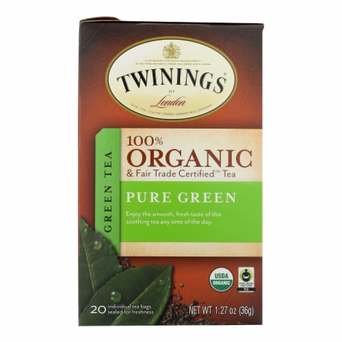 Twinings Tea - 100 Percent Organic - Green - Pure - 20 Bags - Case of 6 - 20 BAG Perspective: front