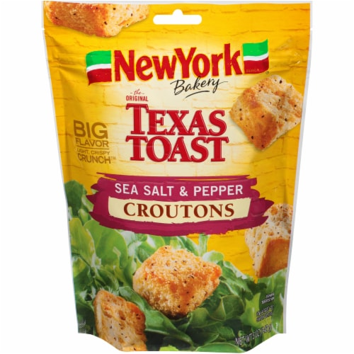 New York Bakery Texas Toast Sea Salt & Pepper Croutons Perspective: front