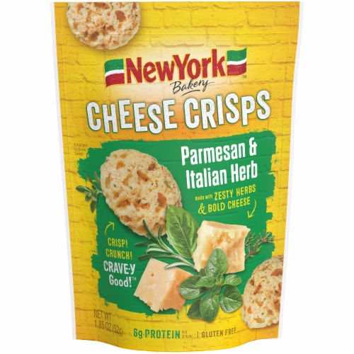New York Bakery Parmesan & Italian Herb Cheese Crisps Perspective: front