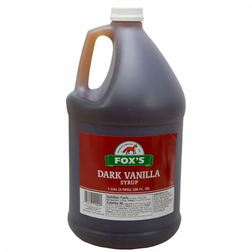 Westminister Foxs Dark Vanilla Syrup, 1 Gallon -- 4 per case. Perspective: front