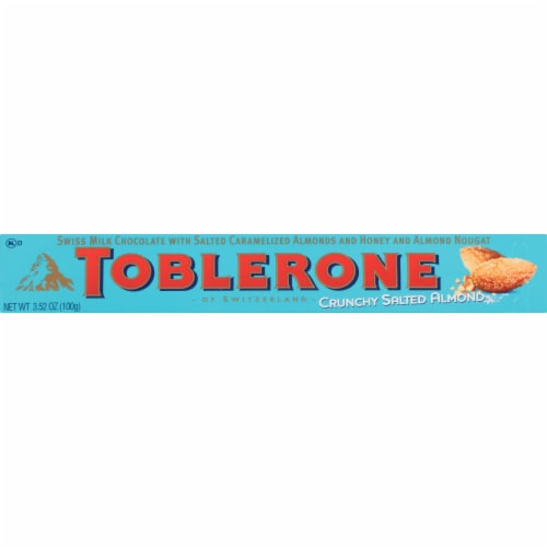 Toblerone Crunchy Salted Almond Swiss Milk Chocolate Bar Perspective: front