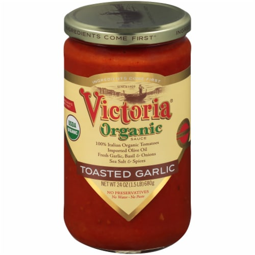Victoria Organic Toasted Garlic Sauce Perspective: front