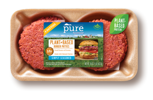 Pure Farmland Simply Seasoned Plant-Based Burger Patties 2 Count Perspective: front