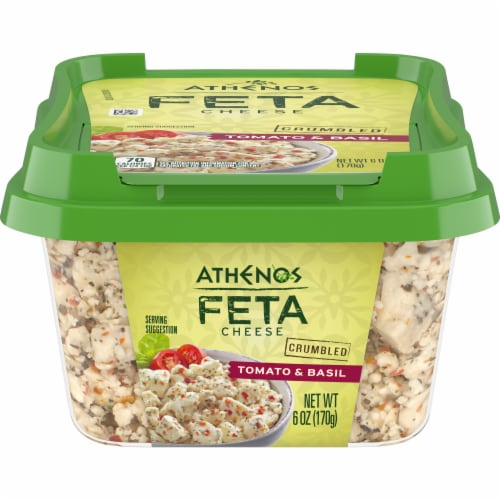 Athenos Crumbled Tomato & Basil Feta Cheese Perspective: front