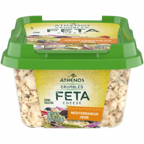 Athenos Crumbled Mediterranean Herb Feta Cheese Perspective: front