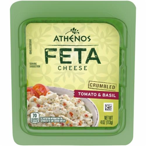 Athenos Crumbled Tomato & Basil Feta Cheese Perspective: front