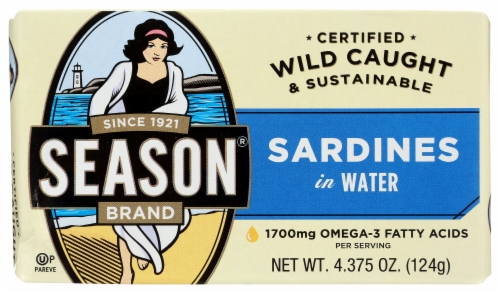 Season Brand Imported Sardines in Water Perspective: front
