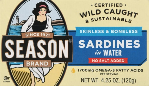 Season Brand Skinless & Boneless No Salt Added Sardines in Water Perspective: front