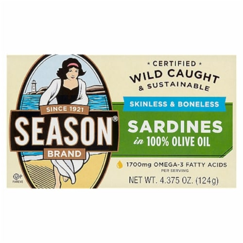 Season Brand Skinless & Boneless Sardines in 100% Olive Oil Perspective: front
