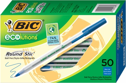 BIC Ecolutions Round Stic Ball Pens - Blue Perspective: front