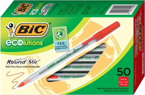 BIC Ecolutions Round Stic Ball Pens - Red Perspective: front