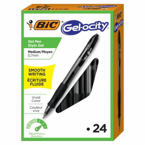 BIC Gelocity  Medium Point Gel Pens - Black - 24 Pack Perspective: front