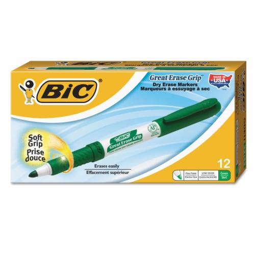 Great Erase Grip Dry Erase Markers, Fine Point, Green, Dozen Perspective: front