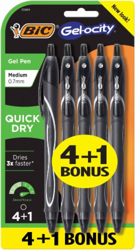 BIC Gel-ocity Quick Dry Pens 5 Pack - Black Perspective: front