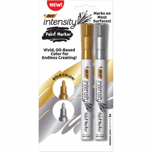 BIC Intensity Medium Point Paint Markers - Gold / Silver Perspective: front