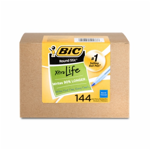 BIC Round Stic Xtra Life Medium Ball Pens - Blue Perspective: front