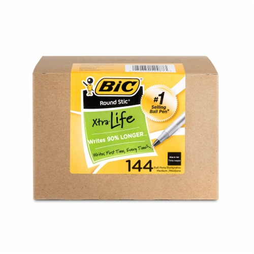 BIC Round Stic Xtra Life Medium Ball Pens - Black Perspective: front
