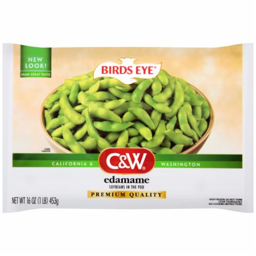 Birds Eye C&W Edamame Soybeans in the Pod Perspective: front