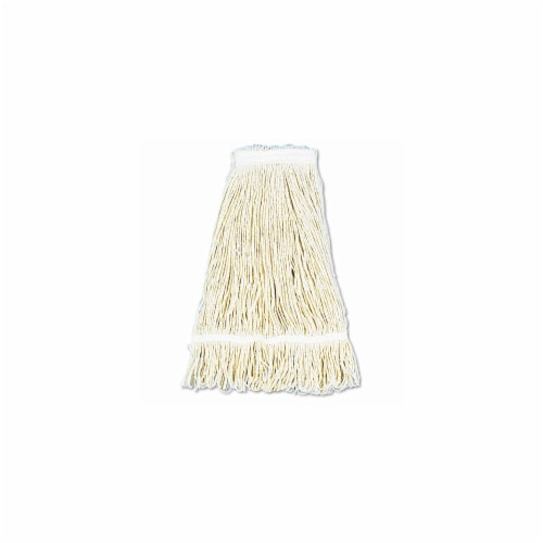 Unisan 424CEA Pro Loop Web/Tailband Wet Mop Head, Cotton, 24oz, White Perspective: front