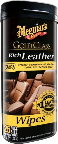 Meguiar's Gold Class Rich Leather Cleaner and Conditioner Wipes Perspective: front