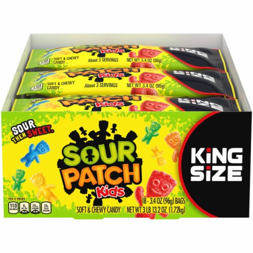 Sour Patch Kids King Size Soft & Chewy Candy Perspective: front