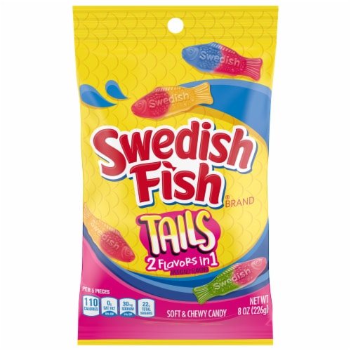 Swedish Fish Tails 2 Flavors in 1 Soft & Chewy Candy Perspective: front