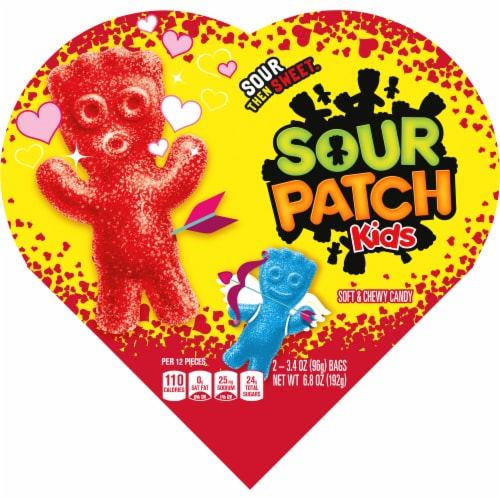 Sour Patch Fat Free Soft Candy Heart Perspective: front