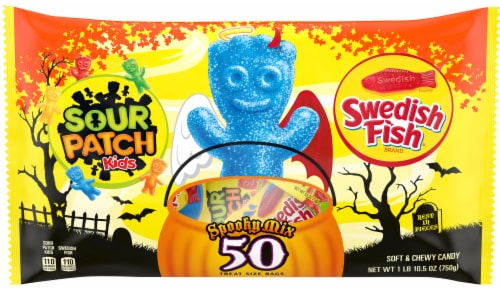 Sour Patch Kids & Swedish Fish Spooky Mix Treat Size Bags Perspective: front