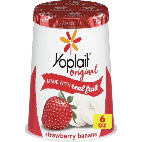 Yoplait Gluten Free Original Strawberry Banana Low Fat Yogurt Perspective: front