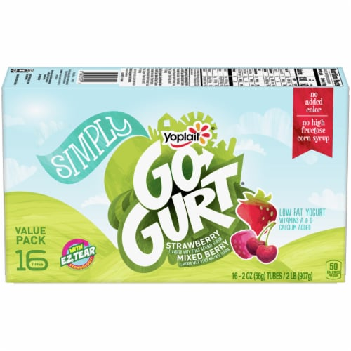 Go-Gurt Simply Strawberry & Mixed Berry Low Fat Yogurt Tubes Value Pack Perspective: front