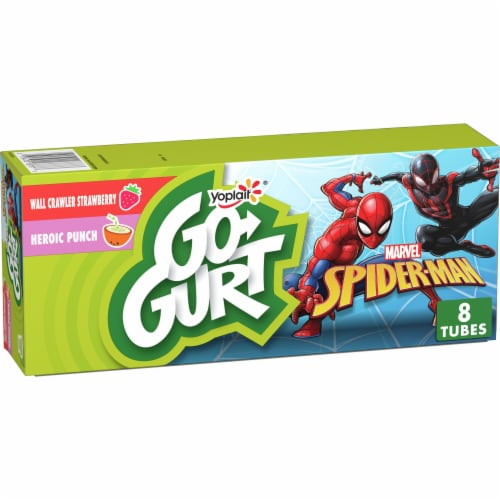 Go-Gurt Avengers Strawberry S.H.I.E.L.D and Super Punch Low Fat Yogut Tubes 8 Count Perspective: front