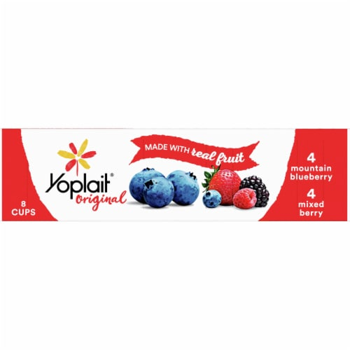 Yoplait Original Mountain Blueberry and Mixed Berry Low Fat Yogurt Perspective: front