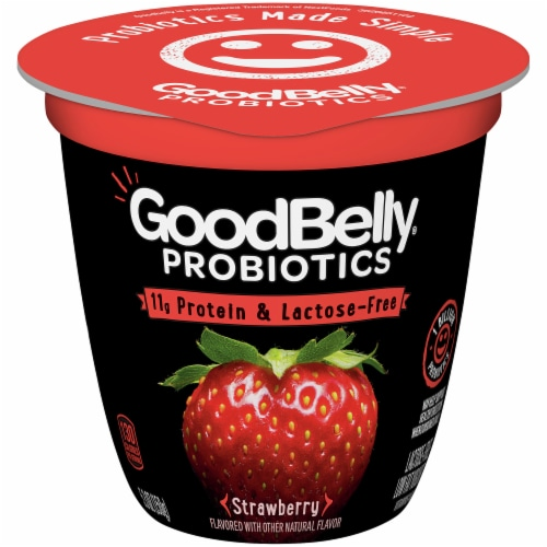 GoodBelly Probiotics Lactose-Free Strawberry Yogurt Perspective: front