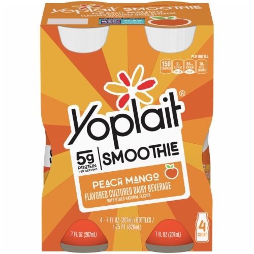 Yoplait Peach Mango Smoothie Drinks Perspective: front