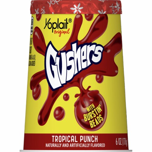 Yoplait Original Tropical Punch Gushers with Burstin' Beads Low Fat Yogurt Perspective: front