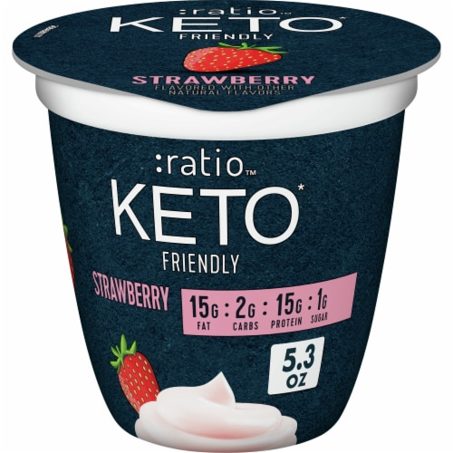 Ratio Keto Friendly Strawberry Dairy Snack Perspective: front