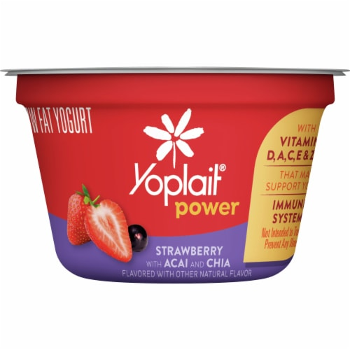Yoplait Power Strawberry with Acai and Chia Low Fat Yogurt Perspective: front