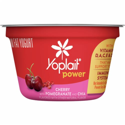 Yoplait Power Cherry with Pomegranate and Chia Low Fat Yogurt Perspective: front